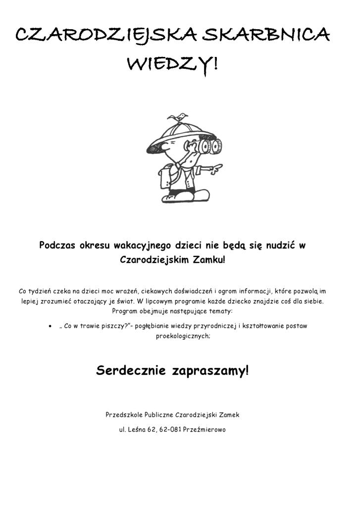 CZARODZIEJSKA SKARBNICA WIEDZY- plan na lipiec-page0001