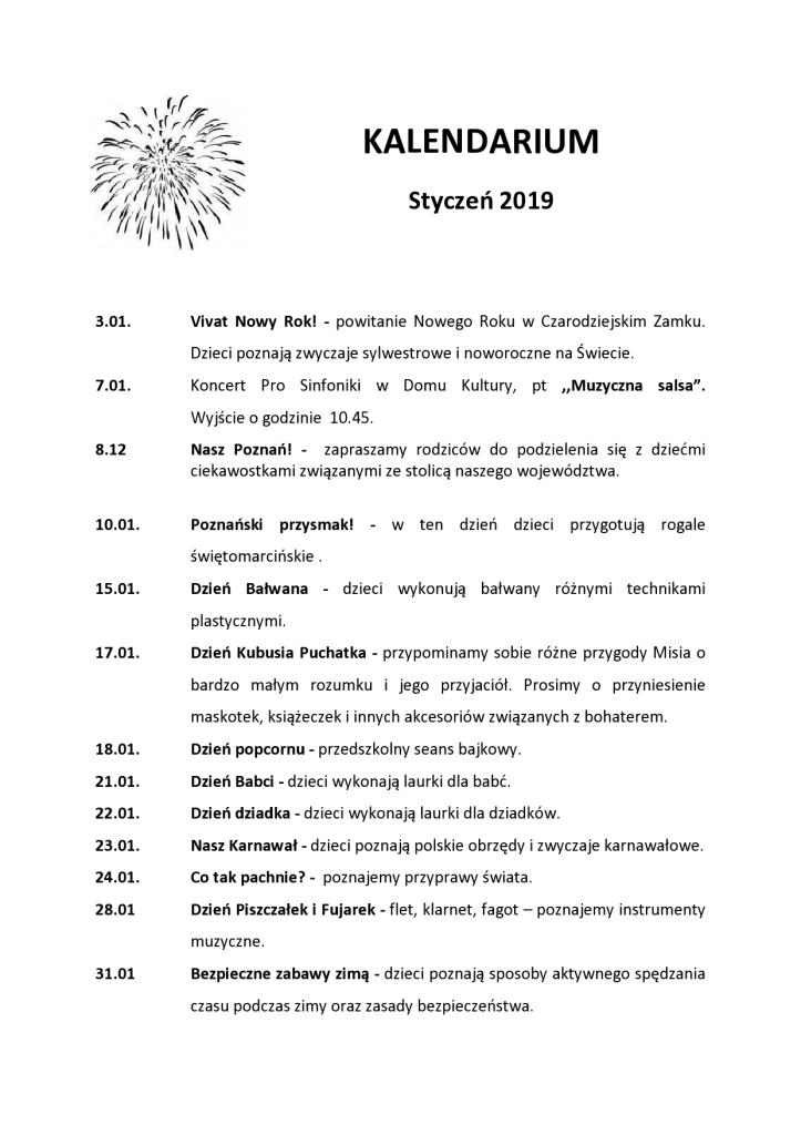 Kalendarium – Styczeń 2019